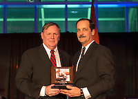 Feb. 27, 2013 - Garden City, New York, U.S. -  PETER D. RETTALIATA (left ) receives the Leroy R. Grumman Award from MARC MACDONELL (right) the Gala Chair and Cradle of Aviation Board Member, at the 10th Annual Cradle of Aviation Museum Air & Space Gala, celebrating the 40th Anniversary of Apollo 17.