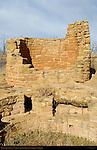Round Tower and Kiva, Anasazi Hisatsinom Ancestral Puebloan Site, Square Tower Settlement, Little Ruin Canyon, Hovenweep National Monument, Colorado - Utah Border
