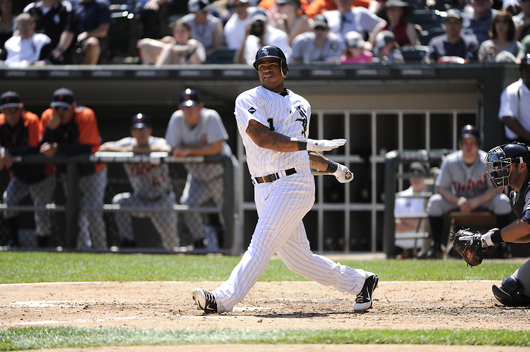 CHICAGO - MAY 15:  Dayan Viciedo #24 of the Chicago White Sox bats against the Detroit Tigers on May 15, 2012 at U.S. Cellular Field in Chicago, Illinois.  The Tigers defeated the White Sox 10-8.  (Photo by Ron Vesely)   Subject:   Dayan Viciedo