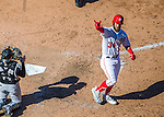 28 August 2016: Washington Nationals outfielder Bryce Harper crosses the plate after hitting a solo home run in the 9th inning against the Colorado Rockies at Nationals Park in Washington, DC. The Rockies defeated the Nationals 5-3 to take the rubber match of their 3-game series. Mandatory Credit: Ed Wolfstein Photo *** RAW (NEF) Image File Available ***