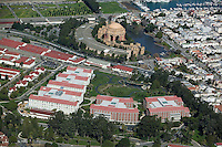 aerial photograph Lucasfilm Letterman Digital Arts Center Presidio San Francisco Palace of Fine Arts Marina district in background