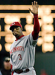 Cincinnati Reds Ken Griffey Jr., waves to Seattle fans after departing the field at the end of the eight inning at Safeco Field in Seattle on June 24, 2007. Jim Bryant Photo. ©2010. ALL RIGHTS RESERVED.