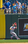 25 August 2013: Washington Nationals outfielder Bryce Harper pulls in a fly ball during a game against the Kansas City Royals at Kauffman Stadium in Kansas City, MO. The Royals defeated the Nationals 6-4, to take the final game of their 3-game inter-league series. Mandatory Credit: Ed Wolfstein Photo *** RAW (NEF) Image File Available ***