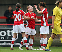 Kim Little (C) of Arsenal is congratulated after scoring the second goal for her team - Arsenal Ladies vs Sparta Prague - UEFA Women's Champions League at Boreham Wood FC - 11/11/09 - MANDATORY CREDIT: Gavin Ellis/TGSPHOTO - Self billing applies where appropriate - Tel: 0845 094 6026
