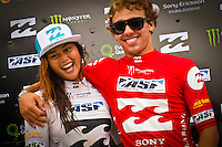 "BURLEIGH HEADS, Queensland/Australia (Saturday, 29 January, 2012) – Caio Ibelli (BRA) and Alessa Quizon (HAW).      Caio Ibelli (BRA)  and Leila Hurst (HAW) have claimed the Men's and Women's ASP World Junior Titles at the Billabong World Junior Championships today. The pair join a prestigious list of former ASP World Junior Champions, including: Adriano De Souza (BRA), Joel Parkinson (AUS), Andy Irons (AUS), Jessi Miley-Dyer (AUS) and Sally Fitzgibbons (AUS). ..Wade Carmichael (AUS) and Alessa Quizon (HAW) were also amongst the winners today, taking out the third and final event of the ASP World Junior Title Series, the Billabong ASP World Junior Championships...The Men's ASP World Junior Title race saw all the frontrunners bow out early today with Jack Freestone (AUS) eliminated by Medi Veminardi (REU) and Ian Gouveia (BRA) taken out by Wade Carmichael (AUS) in the Quarterfinals. Carmichael had a sensational outing at Burleigh Heads this week, gaining entry into the event with a win at the Von Zipper trials and then sticking it to the world's best junior surfers with a win at the Billabong ASP World Junior Championships...Another frontrunner, Garrett Parkes (AUS), needed to advance out of today's Quarterfinals to clinch the 2011 ASP World Junior Title, but was halted by South American sensation Filipe Toledo (BRA). Parkes's ousting in the Quarterfinals resulted in a tie with Caio Ibelli (BRA) for the top spot on the ASP World Junior Title rankings, requiring a ""Surf-Off"" to determine the champion...Caio Ibelli (BRA) started the Surf-Off with a couple of minor scores, it was clear that he was going for something big. Garret Parkes (AUS) on the other hand started chipping away at the lead, posting some scores in the good range to give him an early lead. Ibelli found a wave that linked up and unleashed some solid carves and a massive air-reverse to score an 8.67 (out of a possible 10), to swing momentum his way and take the lead. Parkes had a last m"