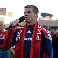 Chicago Fire forward Brian McBride (20) thanks the crowd after playing his last home game for the Fire.  The Chicago Fire tied DC United 0-0 at Toyota Park in Bridgeview, IL on Oct. 16, 2010.