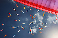 A gaggle of Paragliders during the World Paragliding Championships at Mount Borah, Manilla near Tamworth, NSW, Australia