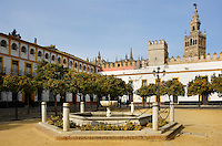 General view of Patio de Banderas (Courtyard of the Flags), outside the Real Alcazar, Seville, Spain, pictured on December 26, 2006, in the afternoon with the Giralda Minaret in the distance. The Patio de Banderas is between the Alcazar and the Barrio Santa Cruz, which was the main Jewish quarter in the Moorish era. Picture by Manuel Cohen.