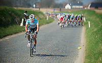 Dwars door Vlaanderen 2012.Gert Steegmans moving in front at the Holleweg