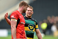 Dylan Hartley of Northampton Saints has a word with George Kruis of Saracens after the match. Aviva Premiership match, between Northampton Saints and Saracens on April 16, 2017 at Stadium mk in Milton Keynes, England. Photo by: Patrick Khachfe / JMP