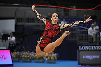 September 8, 2009; Mie, Japan;  Ava Gehringer of USA split leaps  with rope at 2009 World Championships Mie. Photo by Tom Theobald .