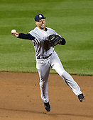 New York Yankees shortstop Derek Jeter (2) throws out Baltimore Orioles right fielder Nick Markakis (21) in the seventh inning against the  at Oriole Park at Camden Yards in Baltimore, MD on Thursday, April 11, 2012.  The Yankees won the game 6 - 4..Credit: Ron Sachs / CNP.(RESTRICTION: NO New York or New Jersey Newspapers or newspapers within a 75 mile radius of New York City)