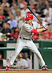 28 September 2010: Philadelphia Phillies' infielder Chase Utley stands ready in the batting box against the Washington Nationals at Nationals Park in Washington, DC. The Nationals defeated the Phillies 2-1 on an Adam Dunn walk-off solo homer in the 9th inning to even up their 3-game series one game apiece. Mandatory Credit: Ed Wolfstein Photo