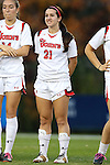 22 November 2013: St. John's Marisa Ammaturo (21). The University of Arkansas Razorbacks played the Saint John's University Red Storm at Koskinen Stadium in Durham, NC in a 2013 NCAA Division I Women's Soccer Tournament Second Round match. Arkansas won the game 1-0.