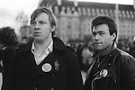 National Front NF members wearing John Tyndal badges. ( John Tyndal was the leader of the NF )  Remembrance Day march and rally 1977.
