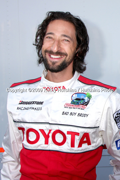 Adrien Brody at  the 33rd Annual Toyota Pro/Celeb Race Press Day at the Grand Prix track in Long Beach, CA on April 7, 2009.©2009 Kathy Hutchins / Hutchins Photo....                .
