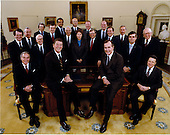 """Class Photo"" of 1981 Reagan Cabinet taken in the Oval at the White House in Washington, DC on Wednesday, February 4, 1981.  From left to right, front row: Alexander M. Haig, Secretary of State; United States President Ronald Reagan; U.S. Vice President George H.W. Bush; and Caspar W. Weinberger, Secretary of Defense.  From left to right, second row: Raymond J. Donovan, Secretary of Labor; Donald T. Regan, Secretary of the Treasury; Terrel H. Bell, Secretary of Education; David Stockman, Director, Office of Management and Budget; Andrew L. Lewis, Secretary of Transportation; Samuel R. Pierce, Jr., Secretary of Housing and Urban Development; William French Smith, Attorney General; James G. Watt, Secretary of the Interior; Jeanne J. Kirkpatrick, U.S. Representative to the United Nations; Edwin Meese, III, Counselor to the President; James B. Edwards, Secretary of Energy; Malcolm Baldridge, Secretary of Commerce; William E. Brock, U.S. Trade Representative; Richard Schweiker, Secretary of Health and Human Services; John R. Block, Secretary of Agriculture; and William J. Casey, Director, Central Intelligence Agency..Mandatory Credit: Michael Evans and Bill Fitz-Patrick - White House via CNP"