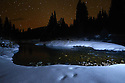 Yaak River and stars at night. Yaak Valley, Montana.
