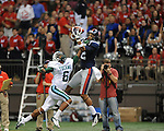 Ole Miss wide receiver Donte Moncrief (12) is unable to make a catch as he is defended by Tulane's Lorenzo Doss (6) in the first half at the Mercedes-Benz Superdone in New Orleans, La. on Saturday, September 22, 2012. Ole Miss won 39-0...