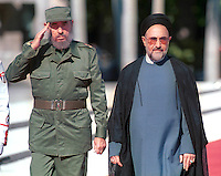 The president of the Islamic Republic of Iran, Hojatoleslam Khatami Mohammad (left), meets with Cuban President, Fidel Castro, in the Palace of The Revolution, in Cuba. September 30, 2000.. Credit: Jorge Rey/MediaPunch