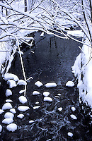 Creek runnung through Toronto Ontario Canada after a snow storm