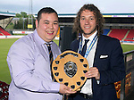 St Johnstone FC Player of the Year Awards...18.05.14<br /> We Are Perth Barossa Player of the Year Award to Stevie May presented byDan Shek<br /> Picture by Graeme Hart.<br /> Copyright Perthshire Picture Agency<br /> Tel: 01738 623350  Mobile: 07990 594431