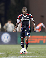 New England Revolution midfielder Clyde Simms (19) looks to pass. In a Major League Soccer (MLS) match, Montreal Impact defeated the New England Revolution, 1-0, at Gillette Stadium on August 12, 2012.