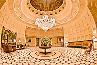 Illuminated interior entrance hall of the hotel Oberoi Amarvilas in Agra. (Photo by Matt Considine - Images of Asia Collection)