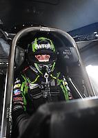 Jun. 17, 2012; Bristol, TN, USA: NHRA funny car driver Alexis DeJoria during the Thunder Valley Nationals at Bristol Dragway. Mandatory Credit: Mark J. Rebilas-