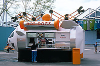 Vancouver: EXPO '86. Fast food stand as Lunar Car. All stands carried out this theme. Photo '86.
