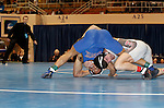 12 MAR 2011:  Nick Walpole of Indianapolis (in grey) wrestles T.J. Hepburn of Nebraska-Kearney during the Division II Men's Wrestling Championship held at the UNK Health and Sports Center on the University of Nebraska - Kearney campus in Kearney, NE.   Walpole defeated Hepburn 4-2 to win the 149-lb national title. Scott Anderson/NCAA Photos