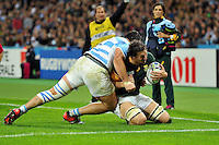 Eben Etzebeth of South Africa dives for the try-line. Rugby World Cup Bronze Final between South Africa and Argentina on October 30, 2015 at The Stadium, Queen Elizabeth Olympic Park in London, England. Photo by: Patrick Khachfe / Onside Images