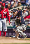 6 April 2014: Atlanta Braves first baseman Freddie Freeman is unable to trap a throw to first during game action against the Washington Nationals at Nationals Park in Washington, DC. The Nationals defeated the Braves 2-1 to salvage the last game of their 3-game series. Mandatory Credit: Ed Wolfstein Photo *** RAW (NEF) Image File Available ***