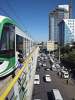 Ethiopia. Addis Ababa. A tramway leaves the station. Addis Ababa Light Rail is a light rail transportation system in Addis Ababa. A 17-kilometre line running from the city centre to industrial areas in the south of the city opened on 20 September 2015. Service began on 9 November 2015 for the second line (west-east). The total length of both lines is 32 kilometres with 32 stations. Trains are expected to be able to reach maximum speeds of 70 km/h. The railway was contracted by the China Railway Group Limited and is nowdays operated by the Shenzhen Metro Group. The Ethiopian Railways Corporation began construction of the double track electrified light rail transit project in December 2011 after securing funds from the Export-Import Bank of China. This light-rail system was the first to be built in sub-saharan Africa. Addis Ababa is the capital city and the name of a region of Ethiopia. 20.11.15 © 2015 Didier Ruef