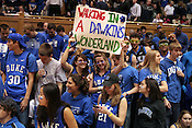 Fans of Andre Dawkins cheer him on at the Duke vs. St. Louis basketball game Saturday, December 11, 2010. (Photo by Al Drago)