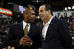 24 February 2016: Notre Dame head coach Mike Brey (right) with assistant coach Anthony Solomon (left). The Wake Forest University Demon Deacons hosted the University of Notre Dame Fighting Irish at Lawrence Joel Veterans Memorial Coliseum in Winston-Salem, North Carolina in a 2015-16 NCAA Division I Men's Basketball game. Notre Dame won the game 69-58.
