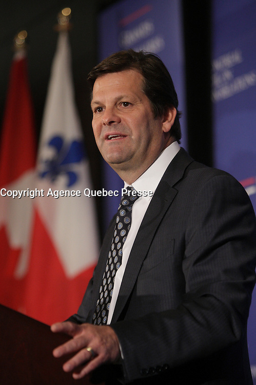 2013 File Photo  - Pierre Beaudoin, President and Chief Executive Officer of Bombardier Inc., the world's only manufacturer of both planes and trains speak at the CORIM