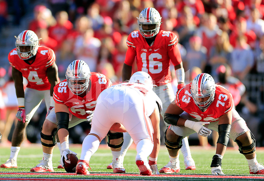 Ohio State Buckeyes offensive lineman Pat Elflein (65) and Ohio State Buckeyes offensive lineman Michael Jordan (73) against Indiana Hoosiers during their game in Ohio Stadium in Columbus, Ohio on October 8, 2016.  (Kyle Robertson/ The Columbus Dispatch)