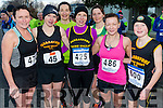 l-r Mary O'Connor from Castleisland, Catriona Barry from Farranfore, Saharon Cahil from Castleisand, Christiane Spillane from Milton, Suzanne Neilan from Castleisland, Marie McKenna from Farranfore and Cian Spillane from Milton pictured at Charles O'Shea Memorial 5km and 10km Run in the Beaufort on New Year morning.