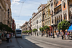 new tram on main street in sevilla, spain