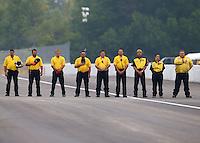 Sept. 2, 2013; Clermont, IN, USA: NHRA safety safari crews during the US Nationals at Lucas Oil Raceway. Mandatory Credit: Mark J. Rebilas-