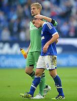 FUSSBALL   1. BUNDESLIGA  SAISON 2012/2013   4. Spieltag FC Schalke 04 - FC Bayern Muenchen      22.09.2012 Torwart Lars Unnerstall und Kyriakos Papadopoulos (v. li., FC Schalke 04)