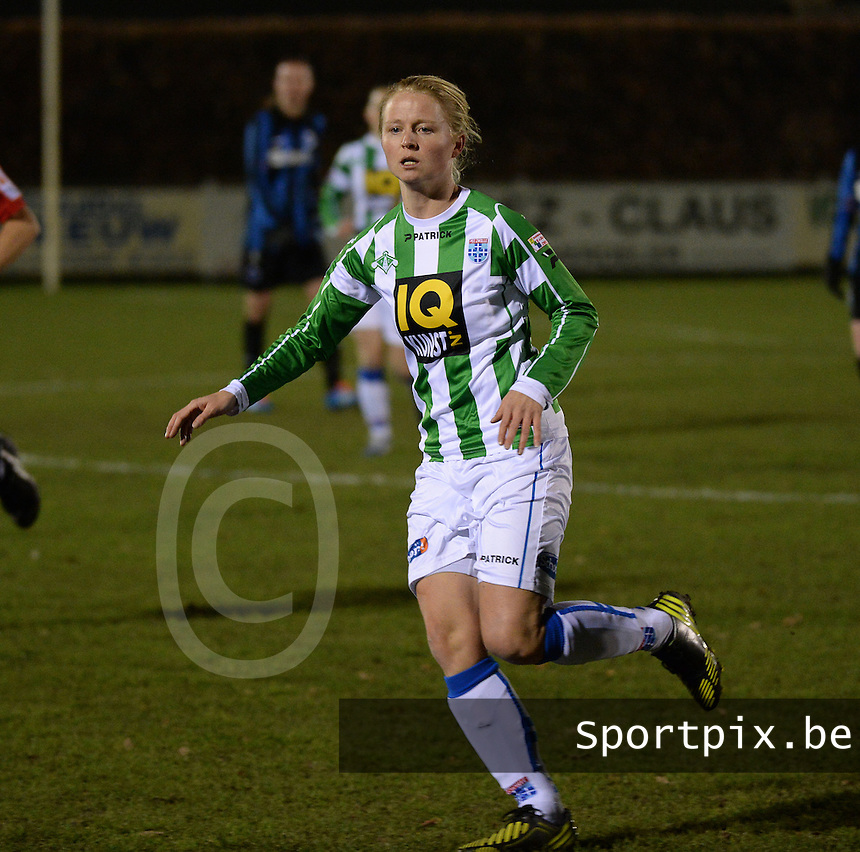 20131213 - VARSENARE , BELGIUM : Zwolle's Mariska Kogelman pictured during the female soccer match between Club Brugge Vrouwen and PEC Zwolle Ladies , of  matchday 14  in the BENELEAGUE competition. Friday 13th December 2013. PHOTO DAVID CATRY