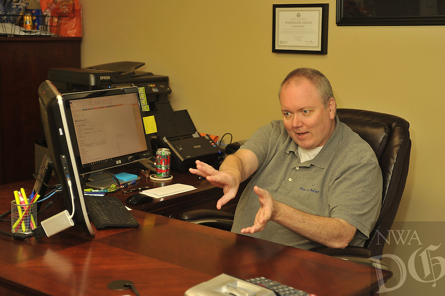 NWA Democrat-Gazette/MICHAEL WOODS &bull; @NWAMICHAELW<br /> Kenneth Mullinax, a CPA who is accepting pro bono cases as a part of a new program within the American Society of Tax Problem Solvers (ASTPS) at his office in Fort Smith <br /> February 18, 2016. The ASTPS helps returning combat veterans (RCVs) with IRS problems. ASTPS members have volunteered to represent the RCVs for no fee as a way of expressing our appreciation for their service.
