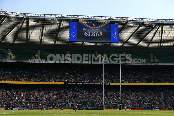 A general view of the attendance figure on the big screen. The Clash, Aviva Premiership match, between Bath Rugby and Leicester Tigers on April 8, 2017 at Twickenham Stadium in London, England. Photo by: Rogan Thomson / JMP for Onside Images
