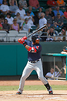 Salem Red Sox designated hitter Jose Sermo (16) at bat during a game against the Down East Wood Ducks  at Grainer Stadium on April 16, 2017 in Kinston, North Carolina. Salem defeated Down East 9-2. (Robert Gurganus/Four Seam Images)