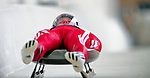7 February 2009: Guntis Rekis slides for Latvia in the Men's Competition at the 41st FIL Luge World Championships, in Lake Placid, New York, USA. .  .Mandatory Photo Credit: Ed Wolfstein Photo