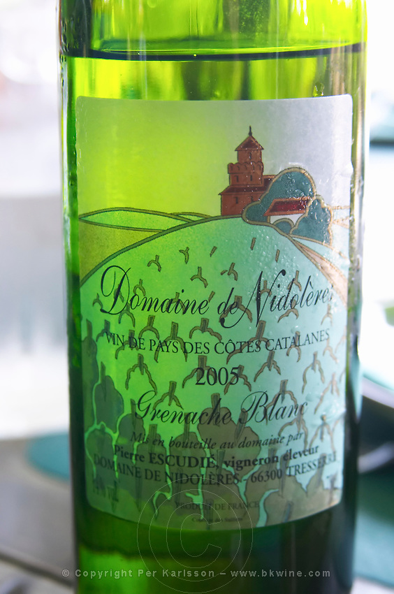 Cuvee Grenache Blanc Vin de Pays des Cotes Catalanes. Domaine de Nidoleres. Roussillon. France. Europe. Bottle.