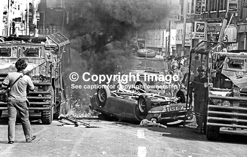 The Silver Jubilee visit of Queen Elizabeth II to N Ireland on 10th &amp; 11th August 1977 sparked serious rioting in Belfast as those opposed to the visit tried to reach the city centre. Soldiers at the scene of a burning overturned car blocking a main route.  197708100074d<br />