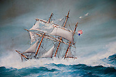 Long Island, New York,  Shinnecock Harbor. Painting of an american sailing ship in trouble at sea, from an antique store.